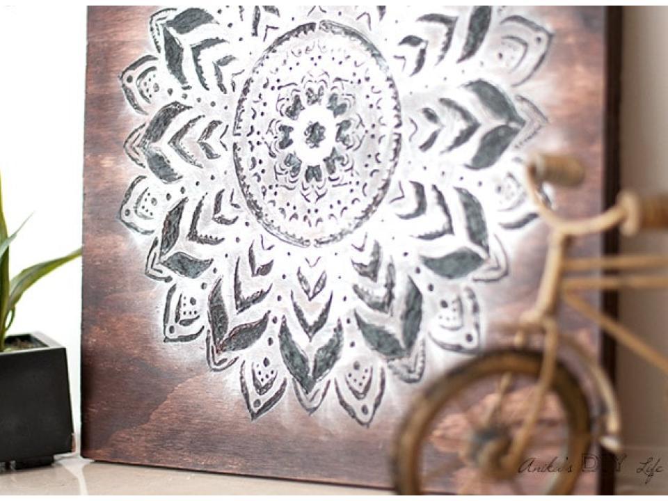 make a wodd carved mandala wall art tutorial