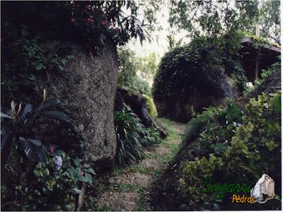 Pisadeira de pedra no jardim, com pedra moledo tipo chapada, com tamanhos entre 40 cm e 60 cm em jardim de residência em condomínio em Atibaia-SP.
