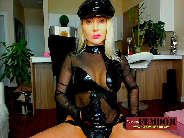 BIg black strapon blonde Domina MissMadisonStone in see-through top