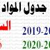 جدول المواد : السنة السادسة ابتدائي / أساسي 2018-2019 و2019-2020