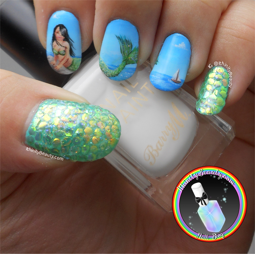 Freehand mermaid nail art with fish scale hexagon sequins of course when they arrived id completely forgotten they came in a set of three so i was really confused for a minute haha prinsesfo Choice Image