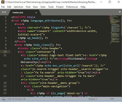 membuat kode header untuk tampilan website