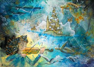 Annapia Sogliani https://www.latelierdannapia.com/ onde sonore violista violinista tartaruga marina balene musica uccelli in volo quadro acrilico su tela, onirico poetico surrealista tableau surrealiste onirique baleine tortue de mer oiseaux violon alto musique surreal art