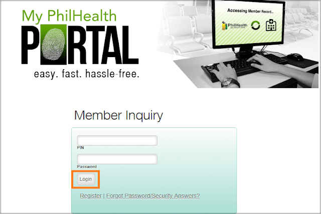 PhilHealth inquiry page