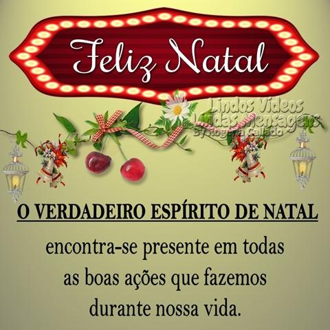Feliz Natal!  O VERDADEIRO ESPÍRITO DE NATAL  encontra-se presente em todas  as boas ações que fazemos  durante nossa vida.