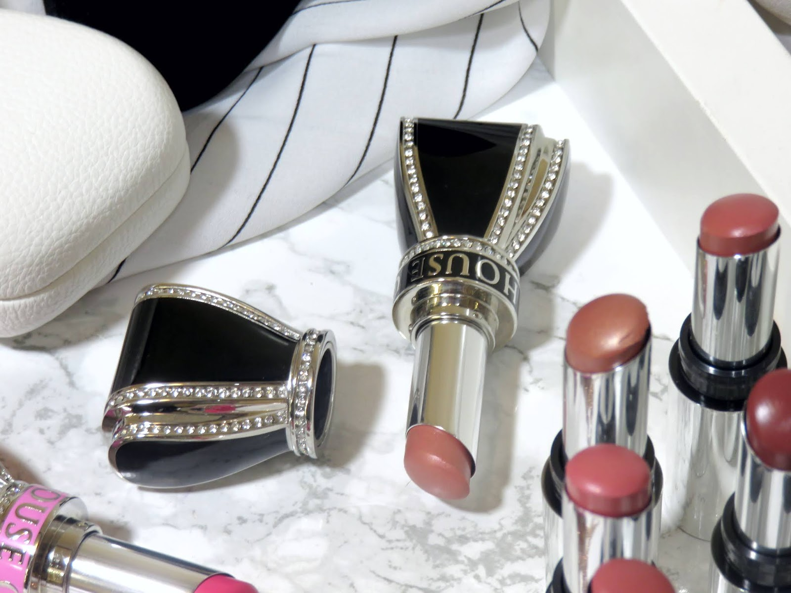 House of Sillage Bow Lipstick Case & Diamond Powder Satin Lipsticks