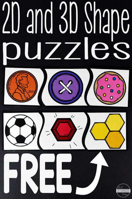 FREE Real items shape puzzles in color and black and white to help kids learn to identify circles, squares, rectangles, ovals, rhombus, hexagon, octagon, pentagon, and more! Perfect for a fun math center for preschool, prek, kindergarten, first grade