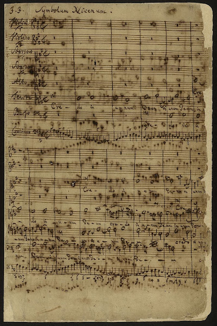 Bach Mass in B minor - Autograph of the first page of Symbolum Nicenum, beginning with the Gregorian chant Credo in the tenor