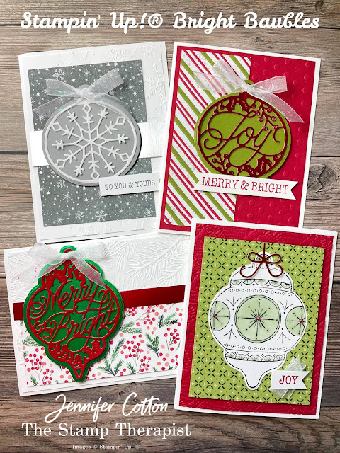 Stampin' Up! Bright Baubles Bundle cards.  I also used these papers: Red Velvet Paper Pack, Gingerbread & Peppermint DSP, Painted Christmas DSP, Peaceful Place DSP, Heartwarming Hugs DSP,  Snowy White Velvet, Red & Green Foil, and Silver Foil Specialty.  Alos: Wintry embossing folders, Red Rhinestones, Checks and Dots embossing folders, and White Glittered Organdy Ribbon.  #StampinUp #StampTherapist #BrightBaubles