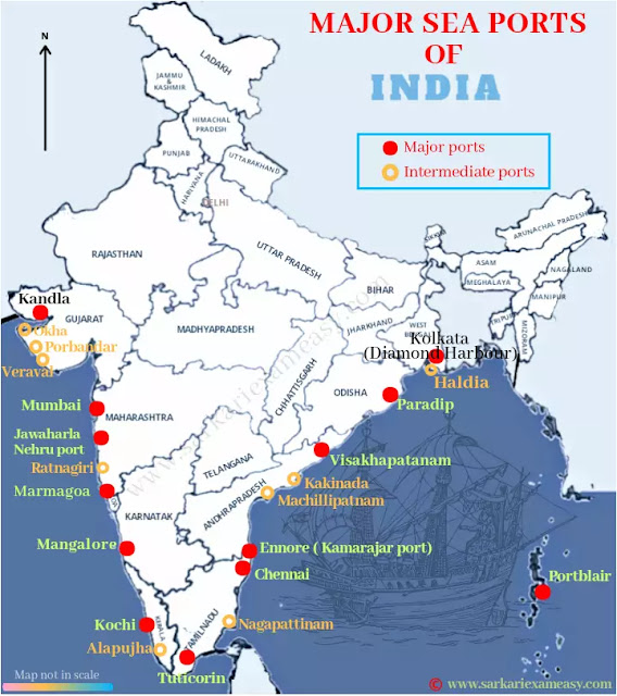 Seaports of India Map