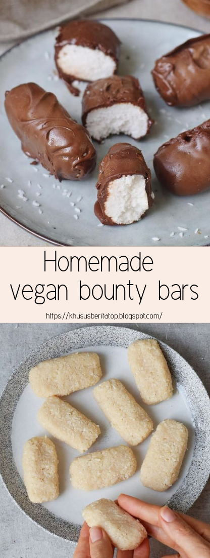 Homemade vegan bounty bars #desserts #cakerecipe #chocolate