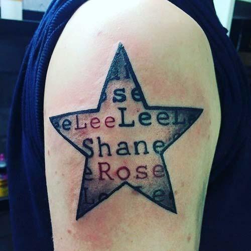 erkek omuz yıldız dövmesi man shoulder star tattoo
