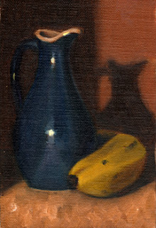 Oil painting of a blue porcelain sauce jug beside a banana.