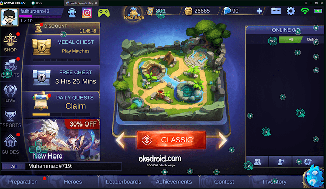 Beranda Lobby Game Mobile Legends di PC Laptop Emulator Memu
