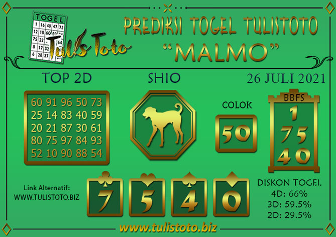 Prediksi Togel MALMO TULISTOTO 26 JULI 2021