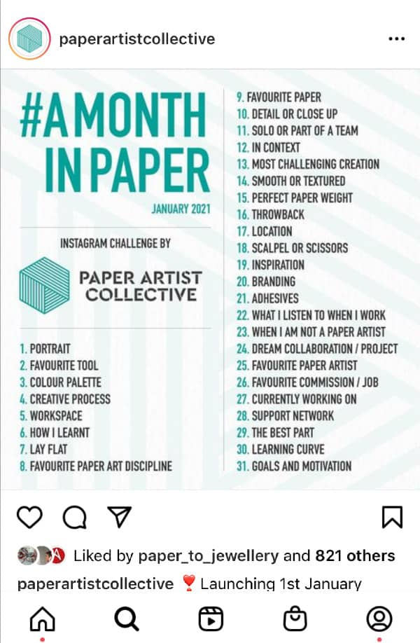 Paper Artist Collective list of topics included in #AMonthOfPaper