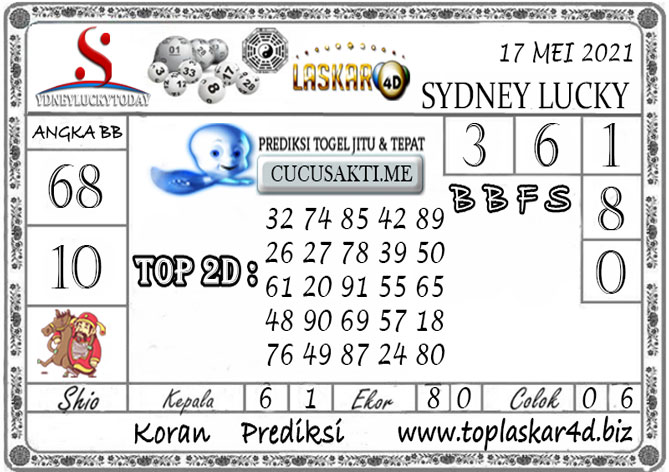 Prediksi Togel Sydney Lucky Today LASKAR4D 17 MEI 2021