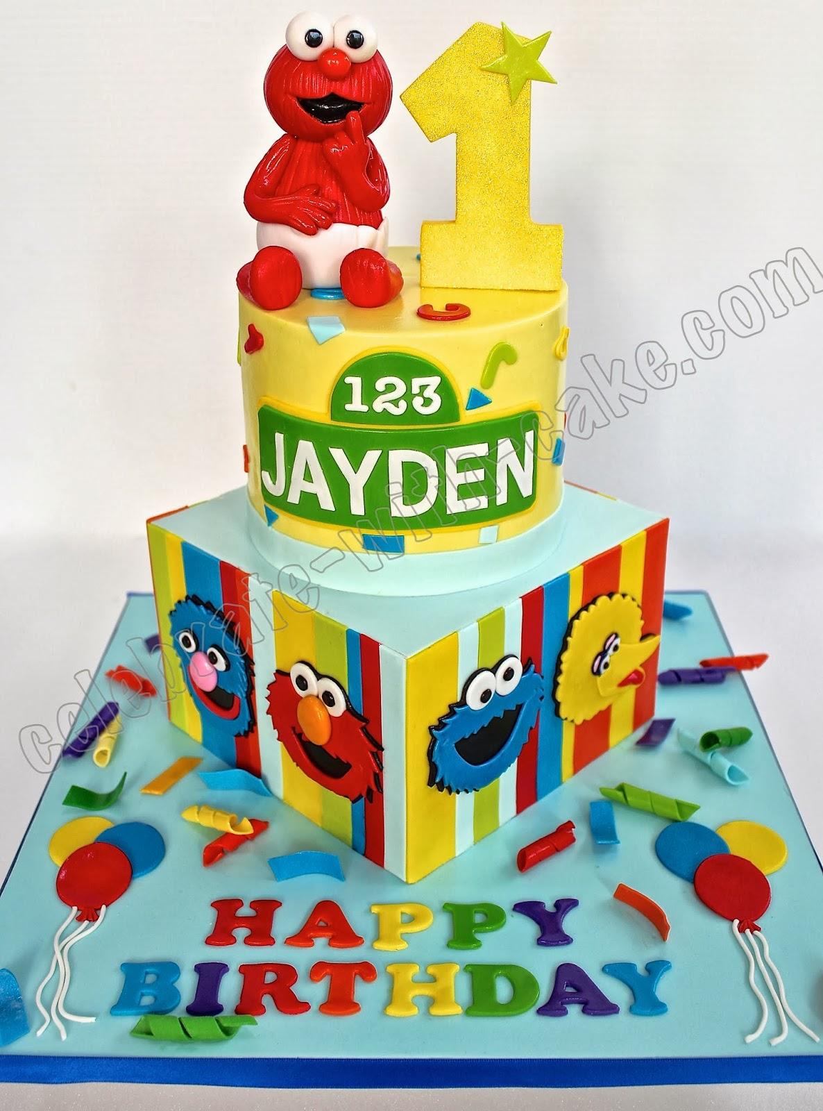 Sesame Street 1st Birthday Featuring Baby Elmo 2 Tier Cake