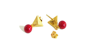 earrings coral rot gold