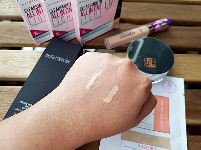 concealer swatches at the back of the hand