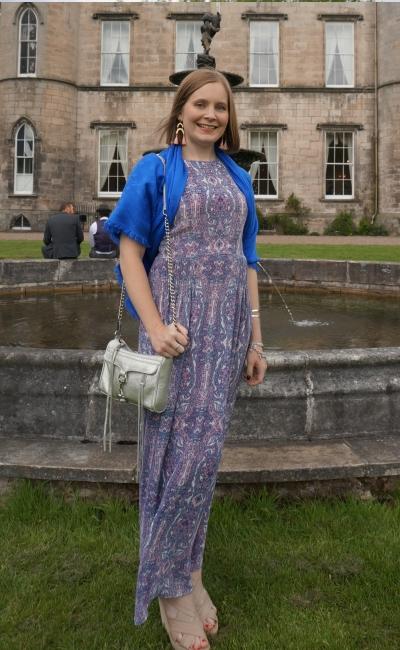 purple maxi dress coblat louis vuitton scarf as a shawl silver mini mac bag wedding guest outfit melville castle | awayfromblue
