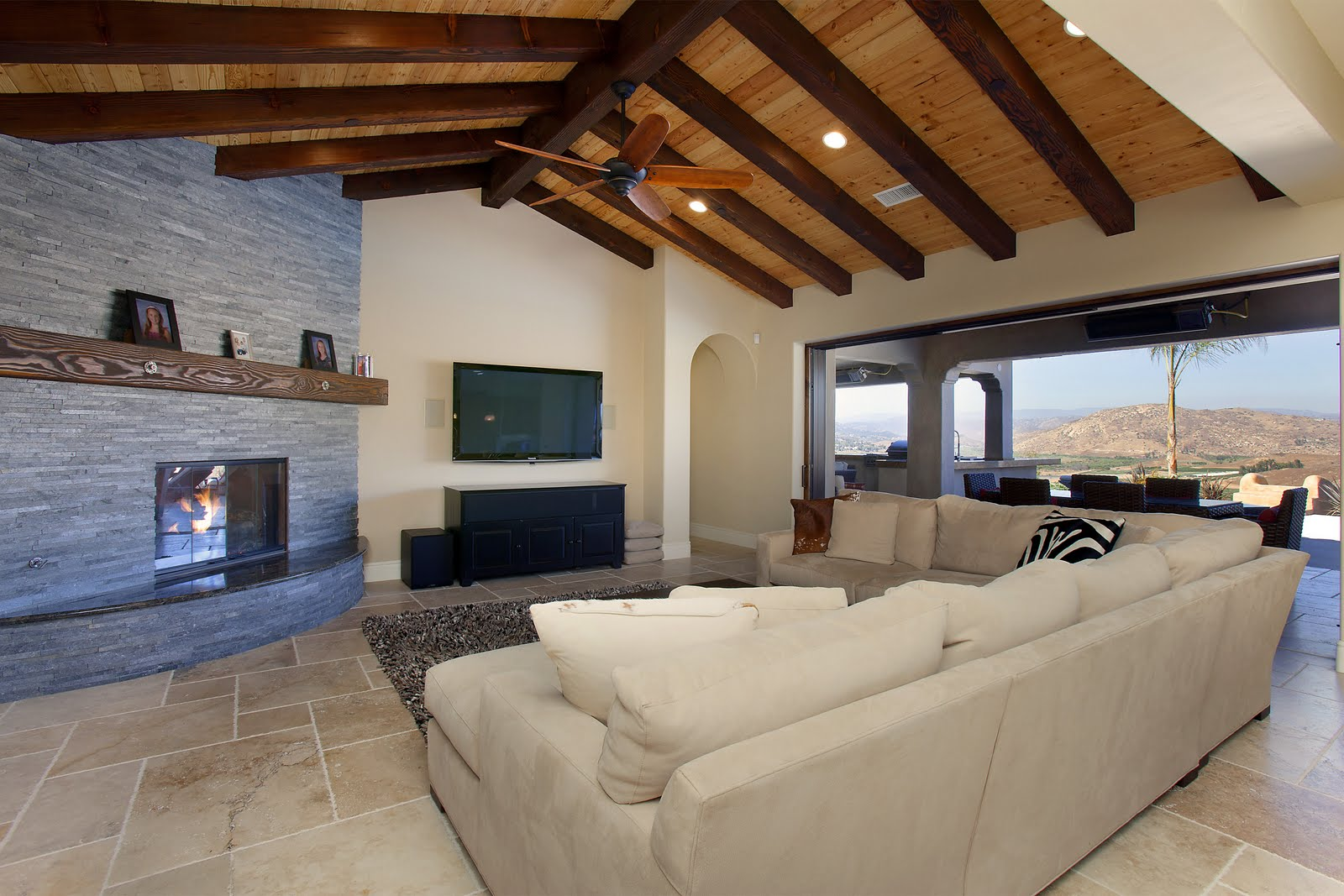 Open Beam Ceilings on Kitchen Cathedral Ceiling Fireplace Design