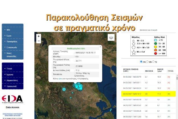 Σεισμοί στην Ελλάδα σε πραγματικό χρόνο
