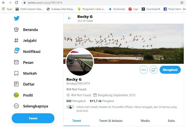 Twitter Rocky Gerung di hack