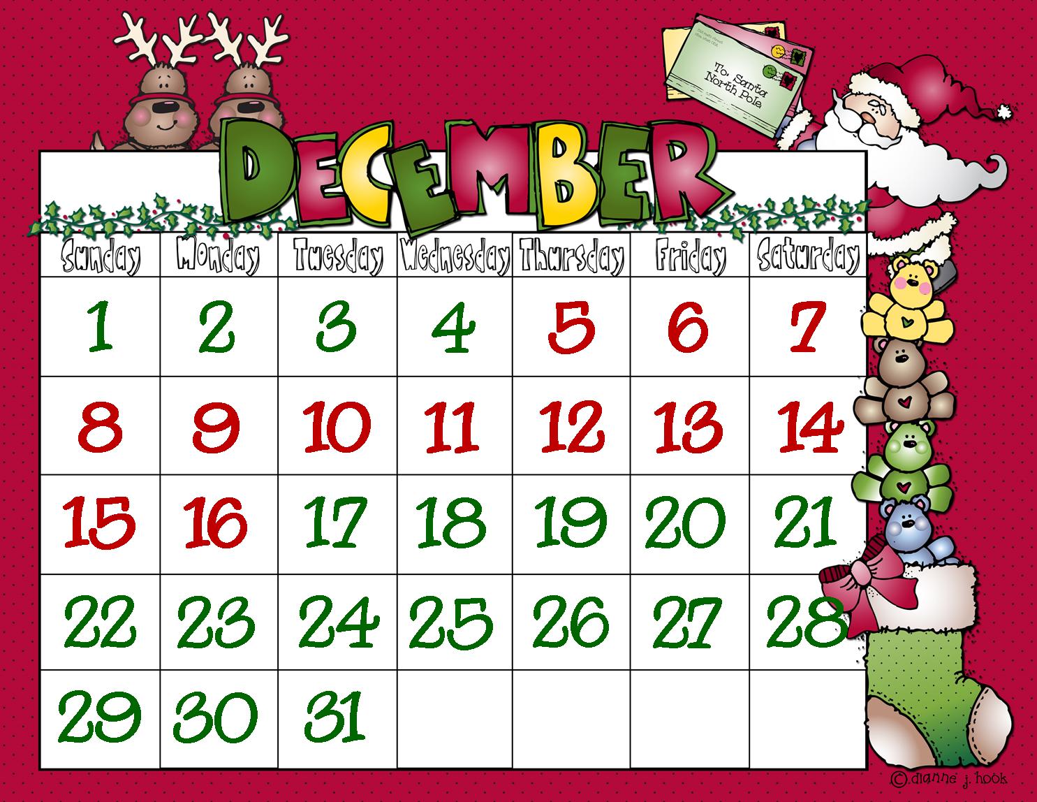 Kids Christmas Calendar : First grade a la carte days of christmas