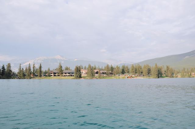 Fairmont Jasper Park Lodge as seen from the middle of Lac Beauvert