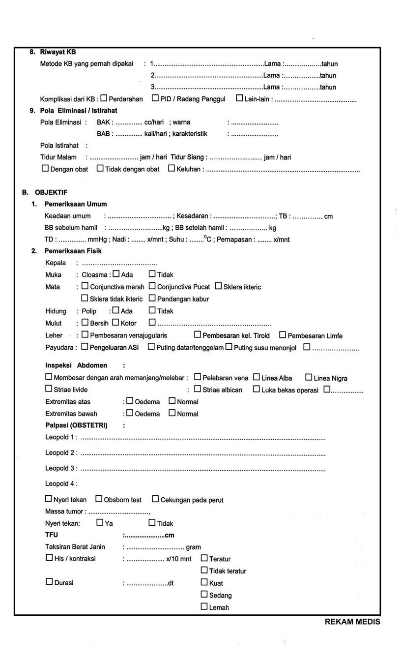contoh format rekam medis kebidanan   assesmen khusus