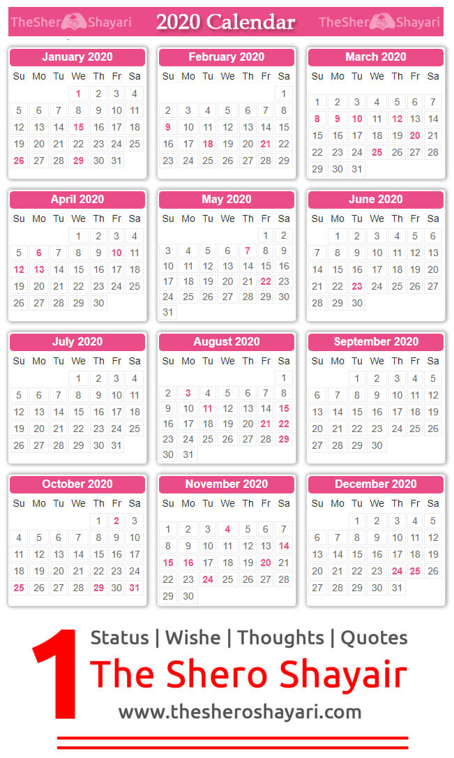 2020 Full calendar image