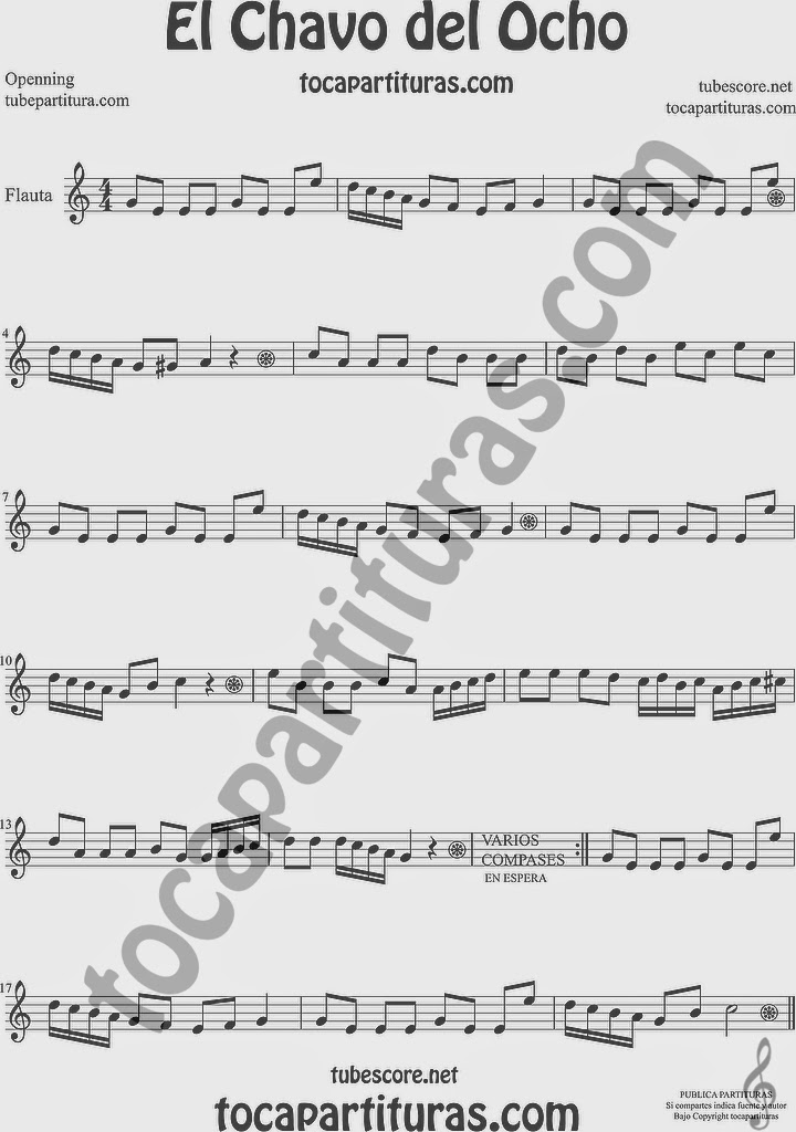 El Chavo del Ocho Partitura de Flauta Travesera, flauta dulce y flauta de pico Sheet Music for Flute and Recorder Music Scores