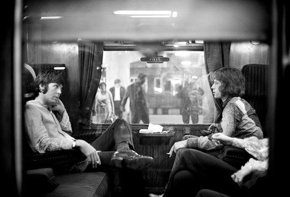 Paul McCartney and Mick Jagger traveling to Bangor, 1967