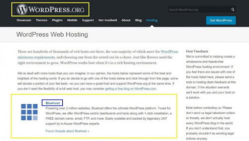 wordpress recommend bluehost web hosting services