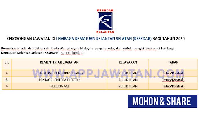 Jawatan Kosong Terkini di Lembaga Kemajuan Kelantan Selatan (KESEDAR)