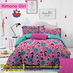 Sprei Custom Katun Lokal Anak Kimono Girl Pink Kartun Karakter Pattern Pink