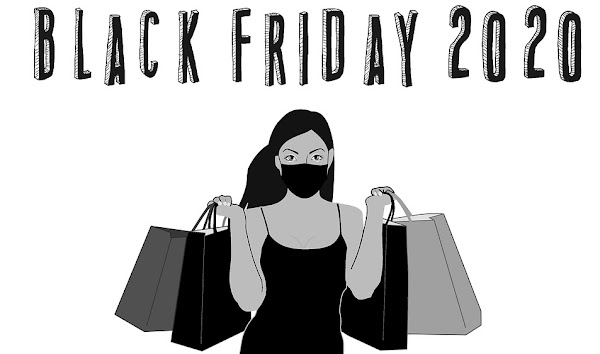 Image: Woman shopping a Black Friday sale while wearing a mask, by Tumisu on Pixabay