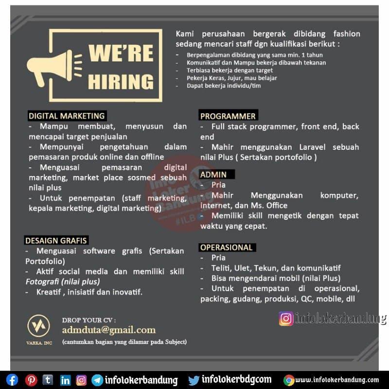 Lowongan Kerja Varka Group Bandung Juli 2021