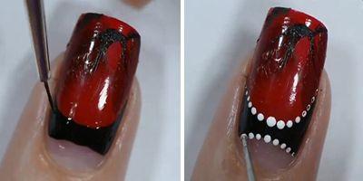 continuando a decoração de unhas vermelhas e pretas