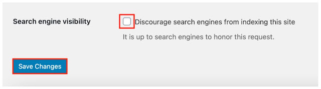 wp Search engine visibility check/uncheck box