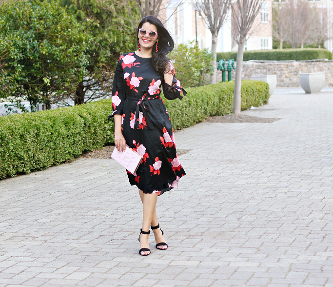 Target Who What Wear Tie Sleeve Dress, Spring Dresses, Floral Dress, Kate Spade Book Clutch, Who What Wear Dresses