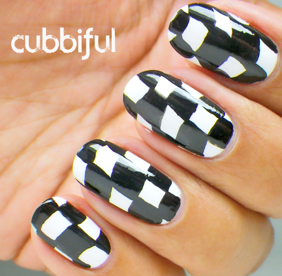 checkerboard black and white nails