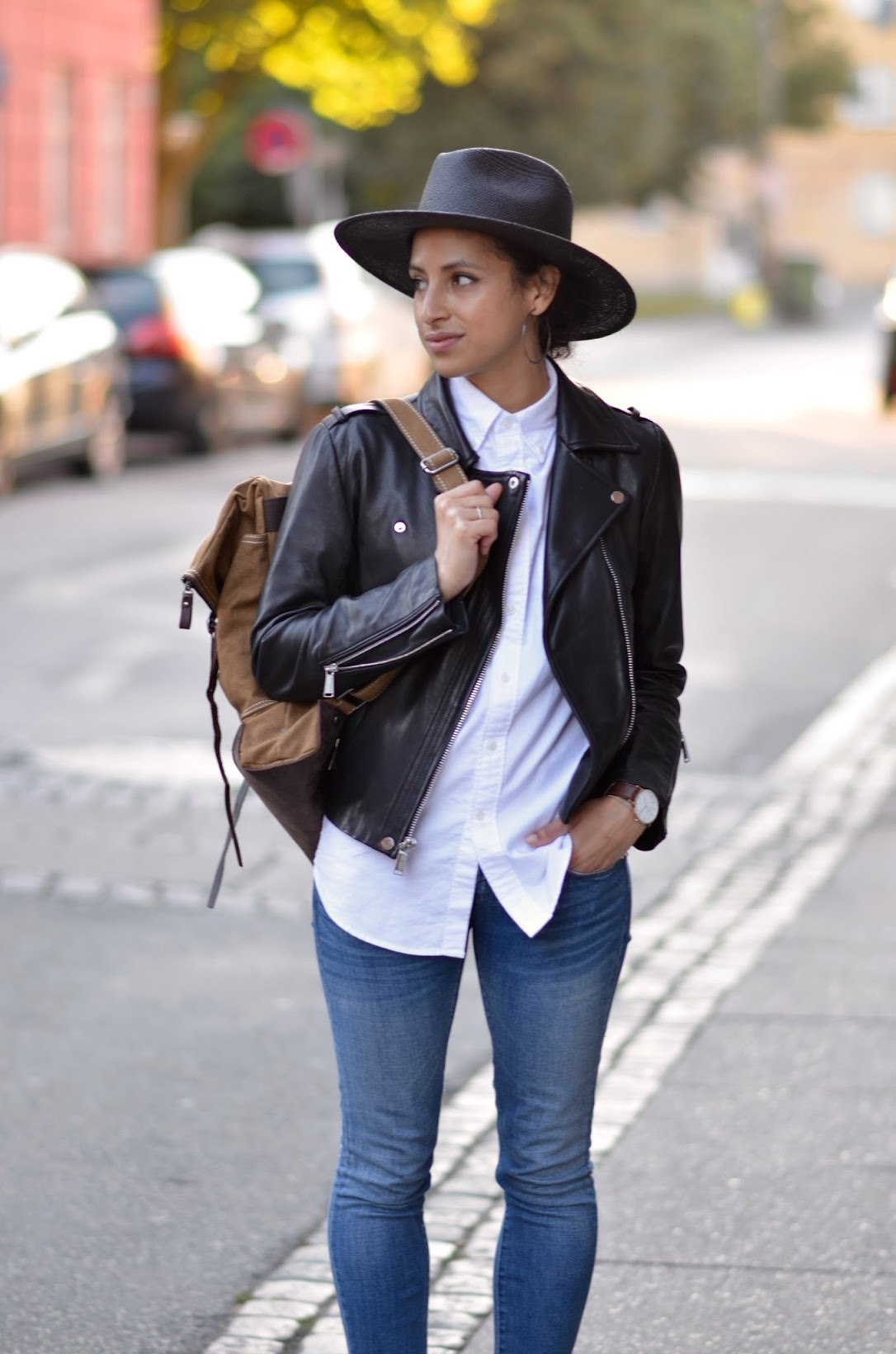 Copenhagen, Torvehallerne, street style, backpack chic, travel style, BCBG Gen leather moto jacket, Blank Denim, Birkenstocks Madrid