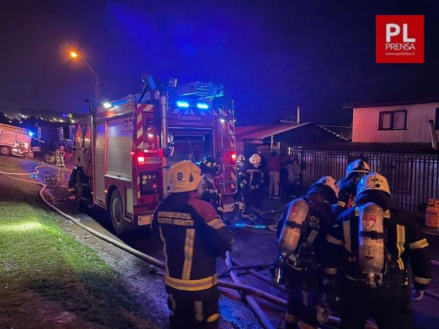 Incendio en población Bernardo O'Higgins