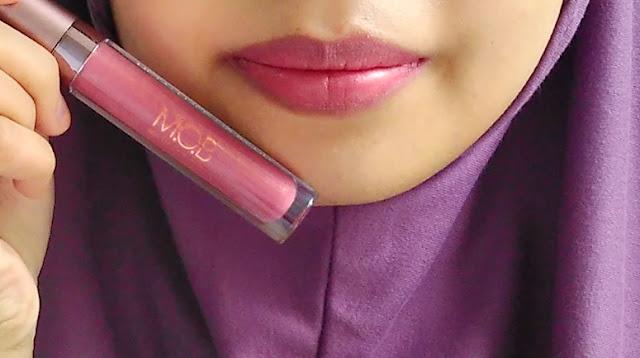 hasil Metallized Lip Stain MOB Cosmetic setelah satu jam