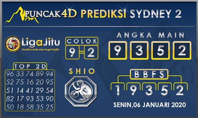 PREDIKSI TOGEL SYDNEY2 PUNCAK4D 06 JANUARI 2020