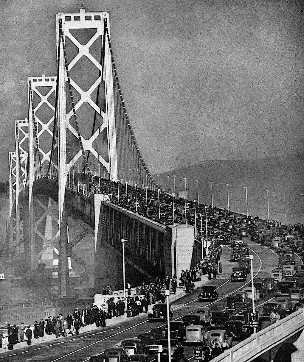 opening day on the 1936 San Francisco Oakland Bay Bridge, a photograph