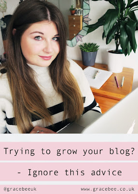 """A Pinterest image. Grace is looking into the camera holding the laptop she has just been working on. Below here is text that reads """" Trying to grow your blog? - Ignore this advice"""""""