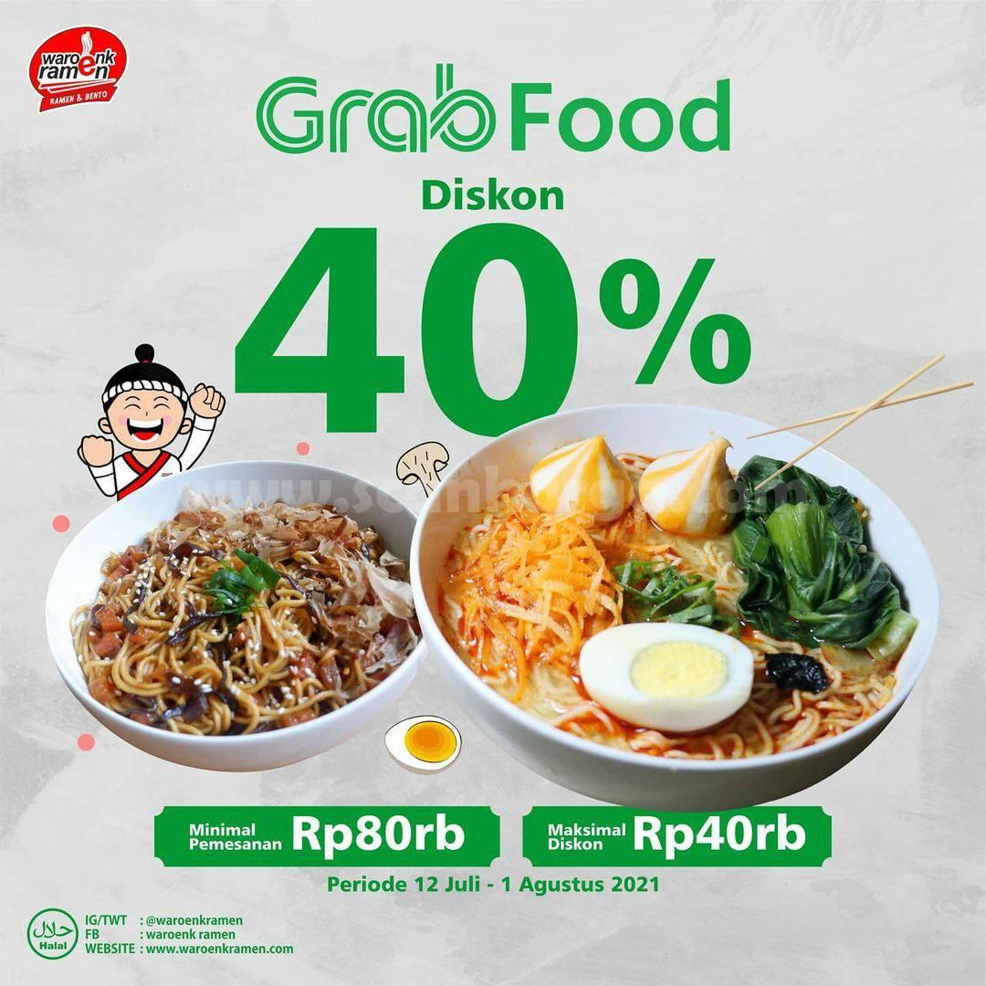 Promo Waroenk Ramen Diskon 40% khusus pemesanan via Grabfood
